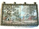 Tapestry Wall Hanging Renaissance vtg ANTIQUE painted CANVAS 50 X 30 Horses