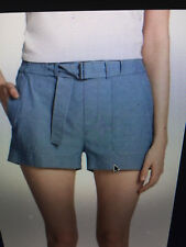 Vince Womens Blue Chambray Belted Casual Shorts Cotton Sz L New with Tag $195