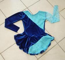 New Girls Blue Velvet Turquoise Polkadot Competition Figure Ice Skating Dress