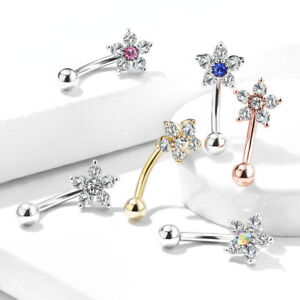 CURVED EYEBROW BAR WITH CRYSTAL FLOWER CHOICE OF COLOURS AVAILABLE