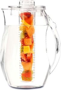 VeBo Tea and Fruit Infusion Pitcher With Ice Core Rod - 2.9 Quart Water Pitcher