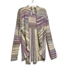 Leo & Nicole Sweater Size XL Purple Loose Knit Draped Open Front Cardigan
