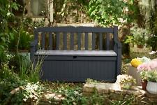 Outdoor Storage Bench Patio Box 70 Gallon Garden Deck Patio Pool Furniture Grey