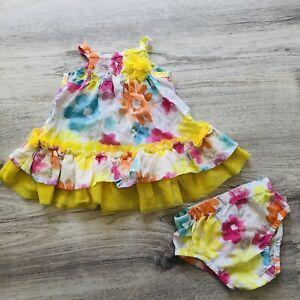 Koala Baby Girls 2 Piece Floral Sleeveless Sundress Diaper Cover Size 3 Months