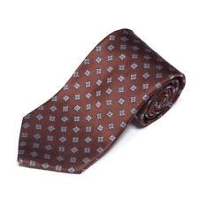 New BROOKS BROTHERS Suave Brown Blue Florette Square Men's Silk Neck Tie