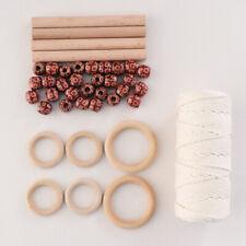 DIY Handmade Cotton Rope Macrame Knitting Making Kit Set Wood Stick Beads Crafts