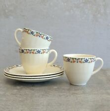 3 Vintage Grindley Demitasse Small Tea Cups Saucers 100mls England 1936-1954