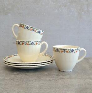 3 Vintage Grindley Demitasse Small Teacups Saucers 100mls England 1936-1954