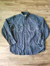 ARIAT Western Shirt Men's LARGE Grey Pearl Snap Front Cowboy Rodeo Rockabilly