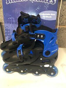 Kids' Inline Skates - Adjustable Blue Size 4 - 7 UK adult size Children