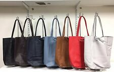 Womens Large Italian Real Leather Shoulder Tote Handbag Shopper Bag Italy Made