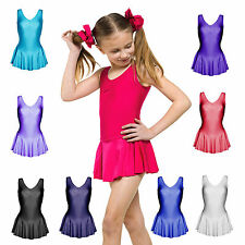 GIRLS NYLON LYCRA PINCH FRONT TAPPERS & POINTERS SKIRTED TUTU DANCE LEOTARD