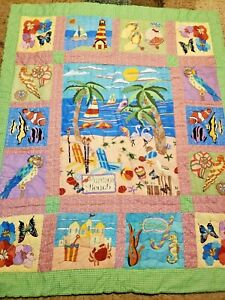 Flamingo Beach Patchwork Quilt Blanket Wall Hanging Beach Parrots Fish Limited E