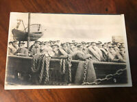 REAL PHOTO POSTCARD WW1 SOLDIERS ABOARD A SHIP - Nice Condition - UNUSED