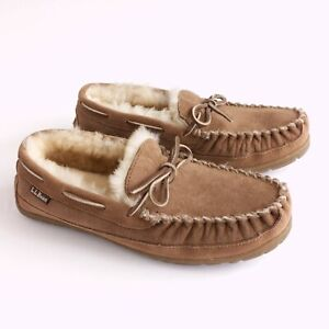 LL Bean Wicked Good Mens Slippers Moc Toe Loafers Shearling Lined Suede Tan 7M