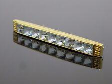 Vintage 1950s 4.5CTW Aquamarine 18K Yellow Gold Brooch Pin, 7.7g