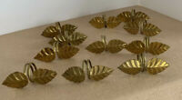 Vintage Brass Napkin Ring Lot Set 11 Leaves Holiday Thanksgiving Christmas Table