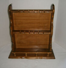 Vintage Wooden Maple Souvenir Spoon Rack Stand w/ Shelf Holder Holds 12 Spoons