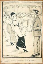 Dessin original de Domenico PICCOLI vers 1910 humour bal danse drague séduction