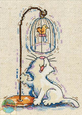 Cross Stitch Kit ~ Design Works Playful Birdcage Kitty Cat #DW2872