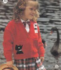 Girl's Knitting Pattern Scottie Dogs CARDIGAN  in 5 ply Copy 61 - 76 cms