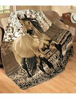 HORSE RIDING WESTERN GIFT HOME DECOR  BUCKSIN HORSE PRINT BLANKET THROW