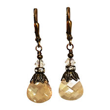Briolette Golden Shadow Rhinestone Vintage Earrings with Crystal from Swarovski