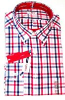 Izod Mens Shirt 17 17 1/2 34 35 Plaid Red Blue Button Down Dress Classic Fit