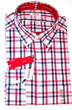 Izod Mens Shirt 17 17 1/2 34 35 Plaid Red Blue Button Down Dress Classic Fit