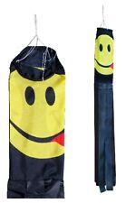 """Happy Face Black Flag 55"""" (140cm) Windsock"""