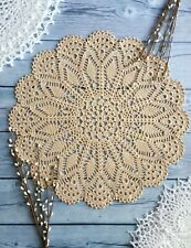 Hand crocheted lace beige doily cotton handmade