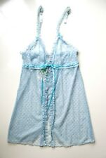 A0293 Honeydew Intimates NEW 8448 Blue Hearts Fishnet Front N Rear Open Babydoll