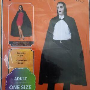 Adult Black Hooded Cape Long Phantom Halloween Vampire Accessory One Size