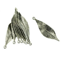 20 Pcs Tibetan Silver 3D Delicate Leaf Charms Pendants Jewelry DIY Making