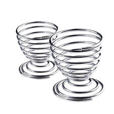 Kitchen Breakfast Hard Boiled Metal Egg Cup Spiral Spring Holder Egg Cup