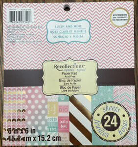 """Recollections """"Blush and Mint"""" 6""""x6"""" Scrapbook Paper Pad"""