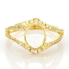 Gold Natural Diamond Fashion Semi Mount Ring 6x8mm Oval Cut Solid 14K 585 Yellow