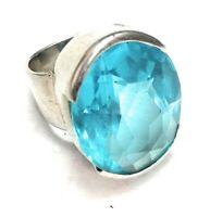 Blue Topaz Natural Handmade Gemstone 925 Sterling Silver Ring Size 5.25
