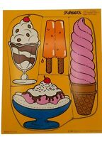 "Vintage Playskool ""Ice Cream Treats"" Wooden 4 Piece Puzzle 1986 Kids - 180-07"