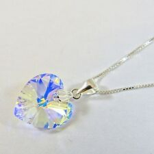 925 Sterling Silver Necklace w Swarovski Elements Crystal Heart Pendant Clear AB