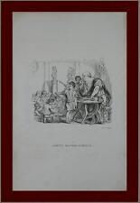 incisione 1851 vignetta maestro scuola illustratore satirico francese Grandville