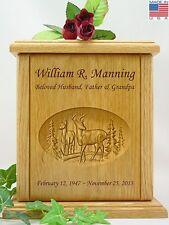Human Cremation Urn - Carved Whitetail Buck & Doe Deer Urn (W-108)