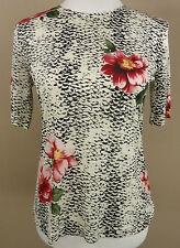 Tolles GERRY WEBER Kurzarm Stretch Shirt, Top weiß-schwarz-rosé geblümt Gr 38-40