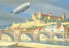 Art Postcard 1939 LZ 130 Graf Zeppelin Over Wurzburg Castle by Nick Walmsley