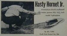 """16"""" Model Hydroplane 1956 How-To build PLANS *Hasty Hornet*"""