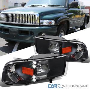 For 94-01 Dodge Ram 1500 2500 3500 Pickup Black LED DRL Headlights+Signal Lamps
