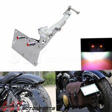 For Harley Sportster Side Mount License Plate Holder Rear Barcket w/ LED Lights