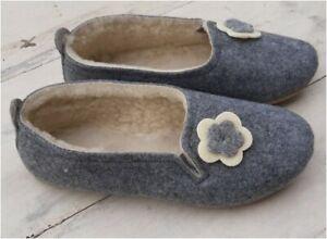 🌷  Ladies Women Woolen Felt Slippers Warm Real Wool Grey Shoes  Handmade UK