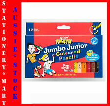 TEXTA◉Jumbo Junior◉12 Colour Pencils Kids◉Hexagonal◉Sharpener◉School◉Child Care◉