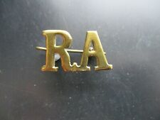 ROYAL ARTILLERY, RA, SHOULDER TITLE BADGE & PIN, ORIGINAL SOLID BRASS
